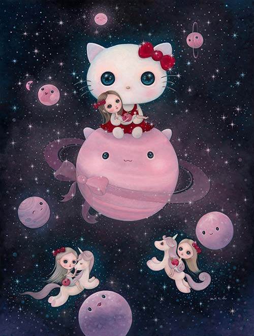 Fly Me to the Kitty Star Painting by aica, Art Artist aica